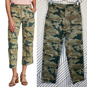 Free People Remy Camouflage Pants in Moss Green